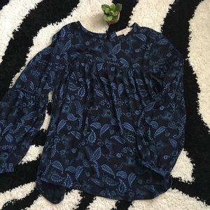 LOFT Paisley/Leaf Blue Peasant Blouse Sz XS